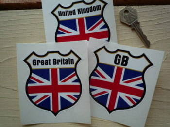 "Union Jack Personalised Shield Sticker. 3""."