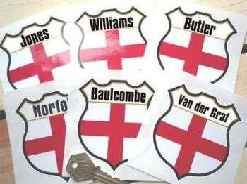 "England Personalised Shield Sticker. 3""."