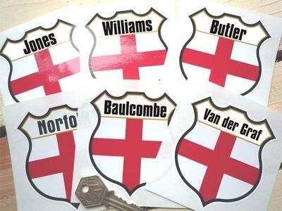 "England Personalised Shield Sticker. 3""."