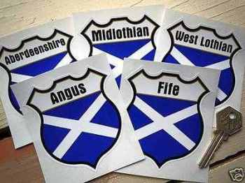 "Scotland County Shield Sticker. 3""."