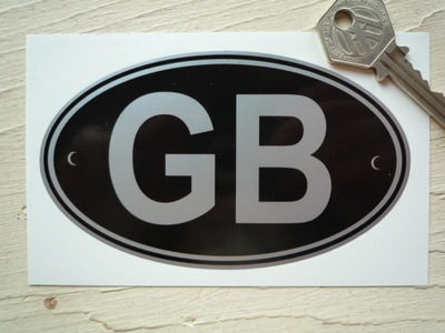 """GB Black & Silver Riveted ID Plate Sticker. 3"""", 5"""" or 7""""."""