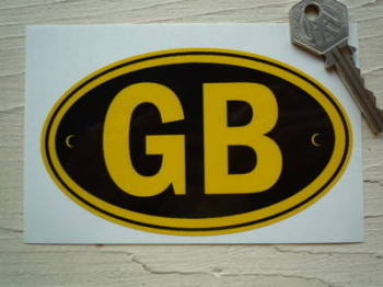 "GB Black & Yellow ID Plate Sticker. 5""."