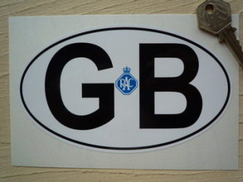 "GB Old RAC Black on White ID Plate Sticker. 6""."