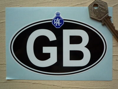 "GB Old RAC White on Black ID Plate Sticker. 5""."