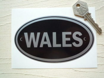 "Wales Black & Silver ID Plate Sticker. 5""."