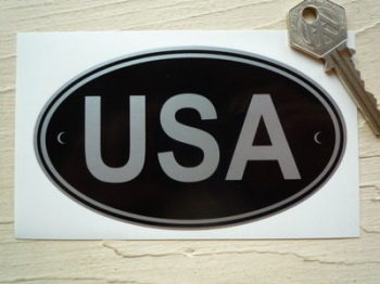 "USA Black & Silver ID Plate Sticker. 5""."
