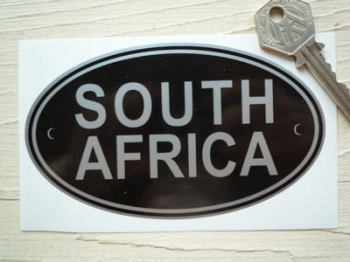 "South Africa Black & Silver ID Plate Sticker. 5""."