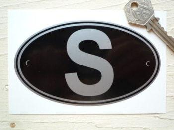 "S Sweden Black & Silver ID Plate Sticker. 5""."