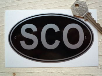 "SCO Scotland Black & Silver ID Plate Sticker. 5""."
