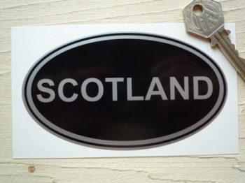 """Scotland Black & Silver ID Plate Sticker. 5""""."""