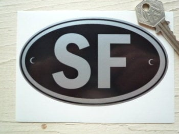 "SF Finland Black & Silver ID Plate Sticker. 5""."