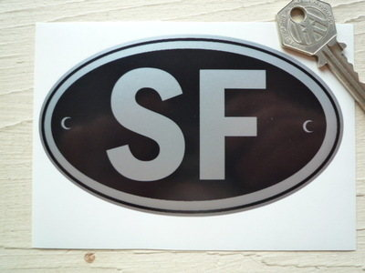 """SF Finland Black & Silver ID Plate Sticker. 5""""."""