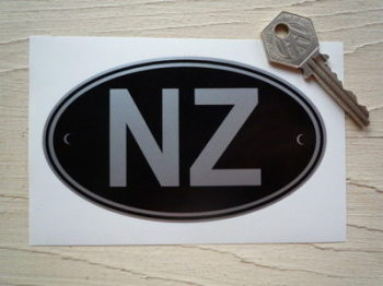 "NZ New Zealand Black & Silver ID Plate Sticker. 5""."