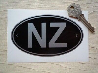 NZ New Zealand Black & Silver ID Plate Sticker. 5