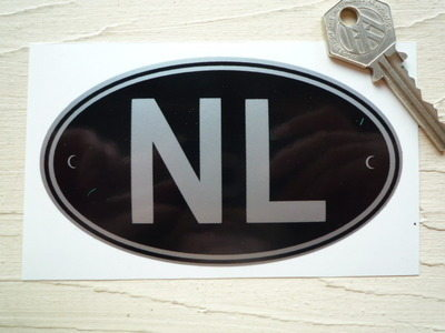 "NL Netherlands Black & Silver ID Plate Sticker. 5""."