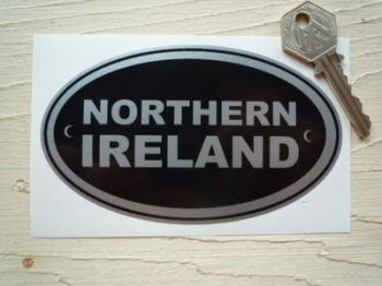 "Northern Ireland Black & Silver ID Plate Sticker. 5""."
