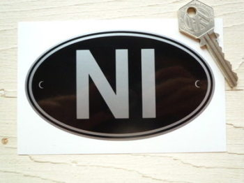 "NI Northern Ireland Black & Silver ID Plate Sticker. 5""."