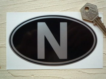 "N Norway Black & Silver ID Plate Sticker. 5""."