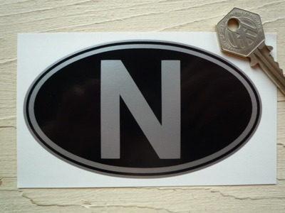 "N Norway Black & Silver ID Plate Sticker. 5""."