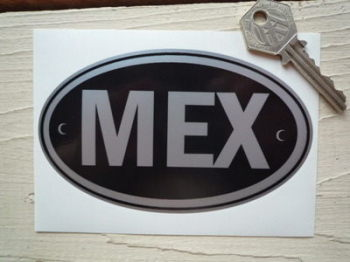 "MEX Mexico Black & Silver ID Plate Sticker. 5""."