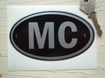 "MC Monaco Black & Silver ID Plate Sticker. 5""."