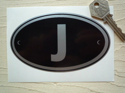 "J Japan Black & Silver ID Plate Sticker. 5""."