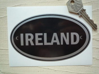 "Ireland Black & Silver ID Plate Sticker. 5""."