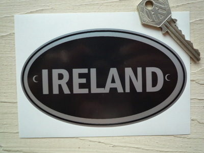 "Ireland Black & Silver ID Plate Sticker. 5""."