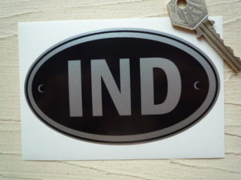 "IND India Black & Silver ID Plate Sticker. 5""."