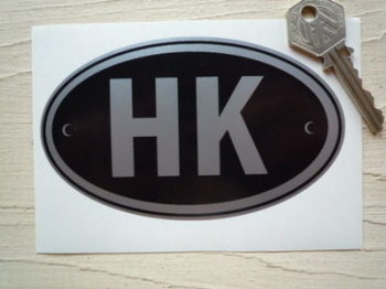 "HK Hong Kong Black & Silver ID Plate Sticker. 5""."