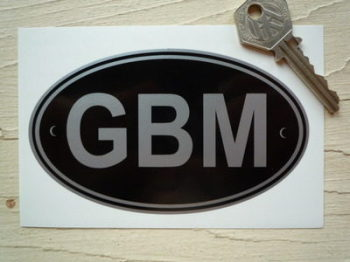 "GBM Isle of Man Black & Silver ID Plate Sticker. 5""."