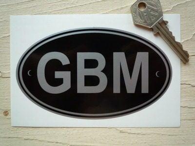 "GBM Isle of Man Black & Silver ID Plate Sticker. 5""."