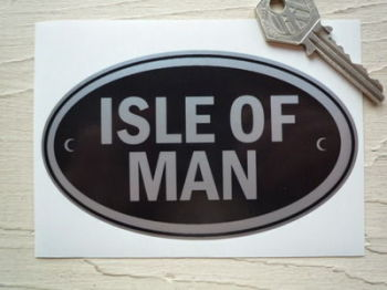 "Isle of Man Black & Silver ID Plate Sticker. 5""."
