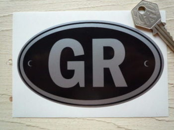 "GR Greece Black & Silver ID Plate Sticker. 5""."