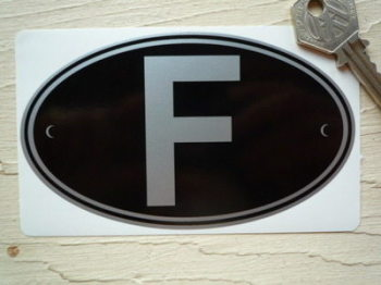 "F France Black & Silver ID Plate Sticker. 5""."