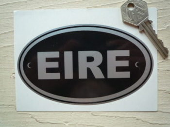 "EIRE Ireland Black & Silver ID Plate Sticker. 5""."