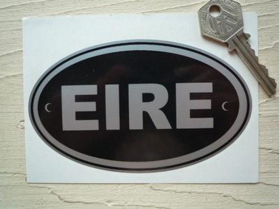 """EIRE Ireland Black & Silver ID Plate Sticker. 5""""."""