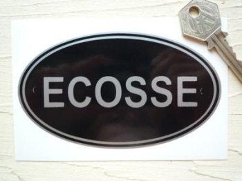 """ECOSSE Scotland Black & Silver ID Plate Sticker. 5""""."""