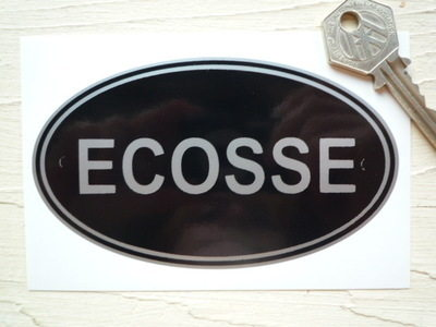 "ECOSSE Scotland Black & Silver ID Plate Sticker. 5""."