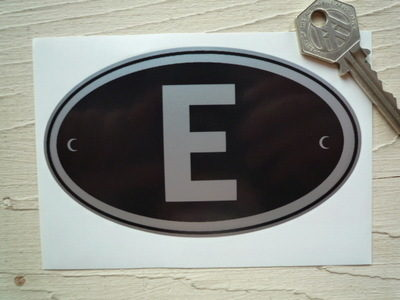 "E Spain Black & Silver ID Plate Sticker. 5""."