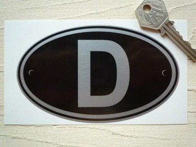 "D Germany Black & Silver ID Plate Sticker. 5""."