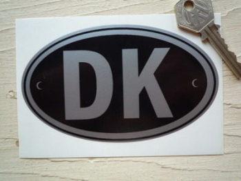 """DK Denmark Black & Silver ID Plate Sticker. 5""""."""