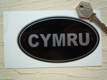 "CYMRU Wales Black & Silver ID Plate Sticker. 5""."