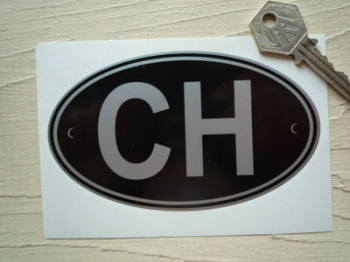 "CH Switzerland Black & Silver ID Plate Sticker. 5""."