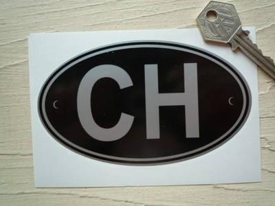 """CH Switzerland Black & Silver ID Plate Sticker. 5""""."""