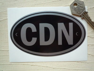 "CDN Canada Black & Silver ID Plate Sticker. 5""."