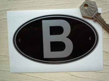 "B Belgium Black & Silver ID Plate Sticker. 5""."