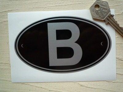 B Belgium Black & Silver ID Plate Sticker. 5