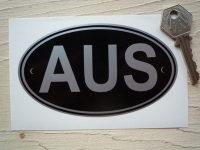 AUS Australia Black & Silver ID Plate Sticker. 5