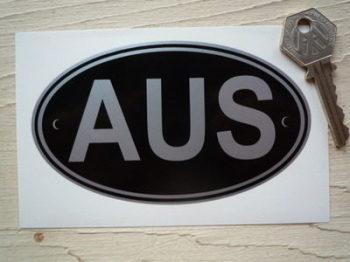 "AUS Australia Black & Silver ID Plate Sticker. 5""."